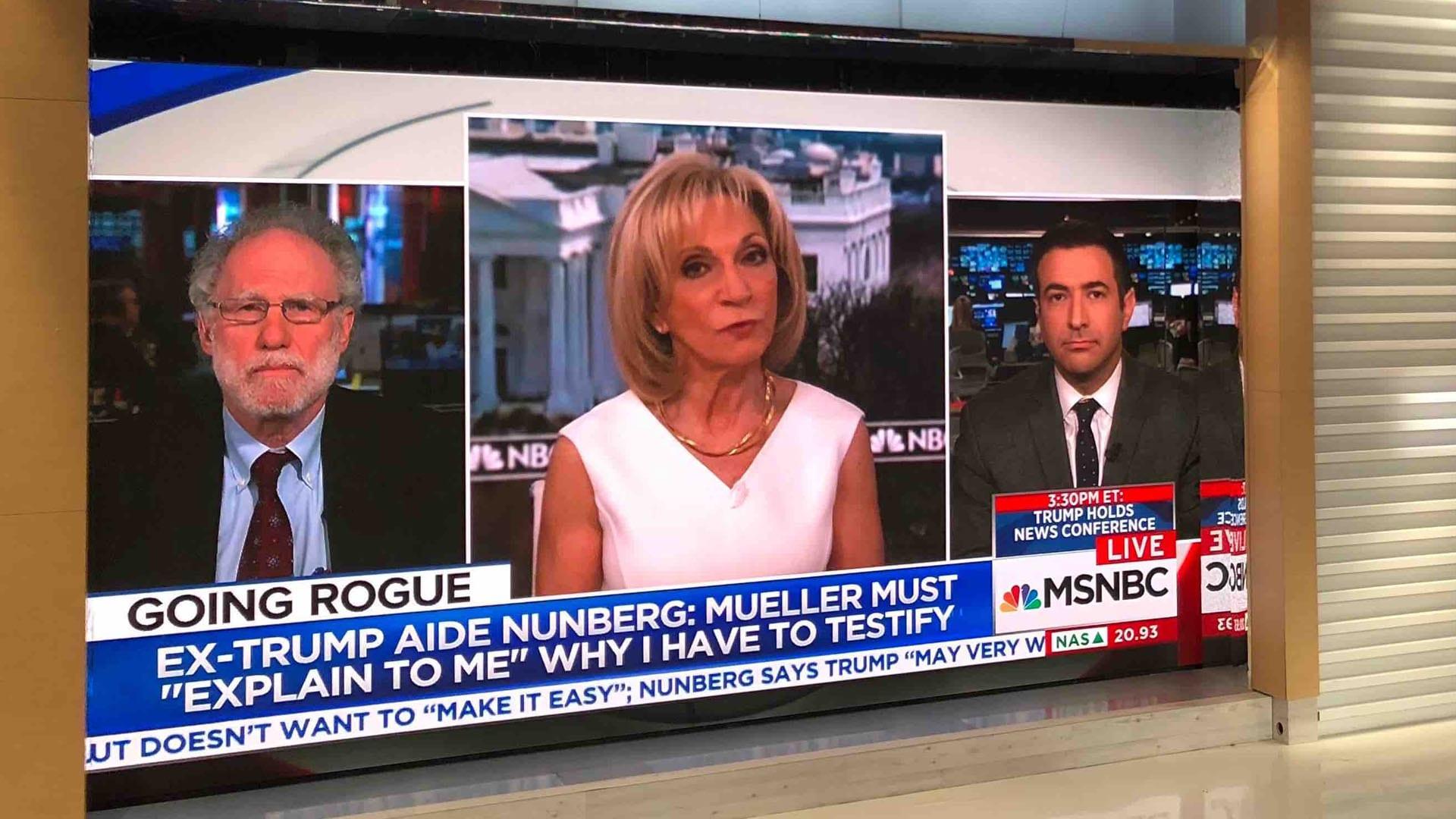 Neoti UHD video wall at NBC Meet the Press TV broadcast studio
