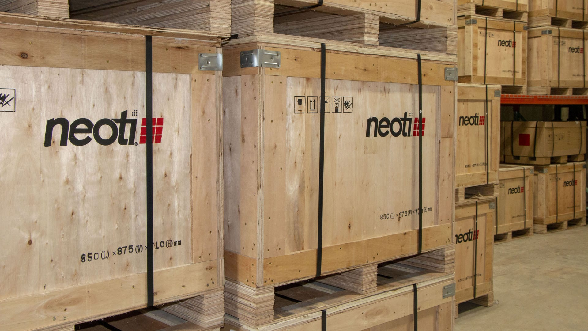 Neoti LED panels in warehouse ready to deliver